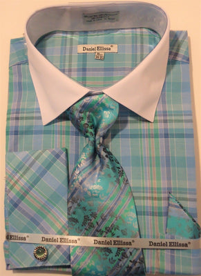 Mens Turquoise Plaids + Checks French Cuff Dress Shirt Daniel Ellissa DS3772 - Nader Fashion Las Vegas