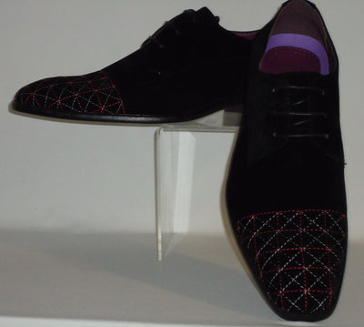Mens Super Stylish Faux Black Suede Dress Shoes w/ Awesome Red Stitching AM6576 - Nader Fashion Las Vegas