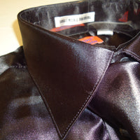 Mens Karl Knox Shiny Black Silky Satin Formal Dress Shirt Tie & Hanky - Nader Fashion Las Vegas