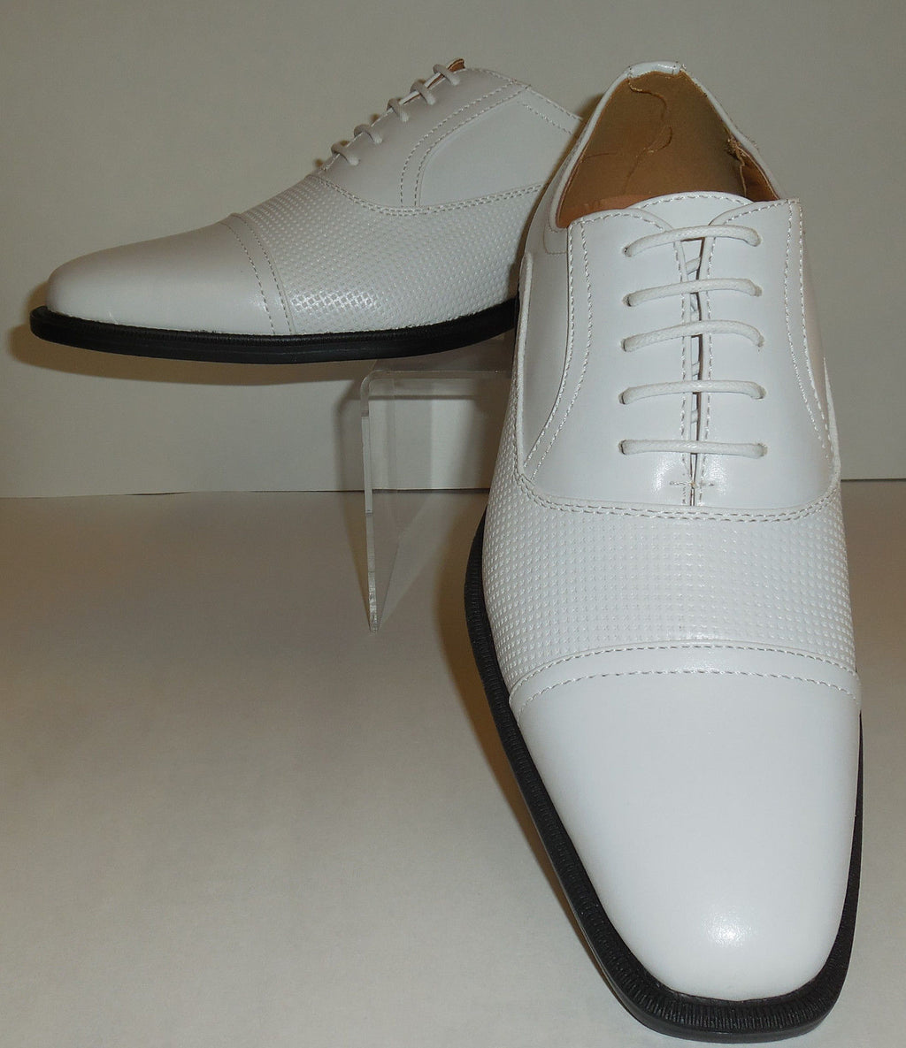 Mens Chic White Oxford Dress Shoes with Cool Perforation Antonio Cerrelli 6528 - Nader Fashion Las Vegas