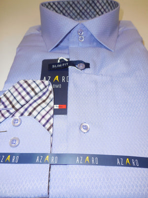 Mens Light Lavender Micro Pattern w/ Plaid Cuff Slim Design Shirt Azaro Uomo M29 - Nader Fashion Las Vegas