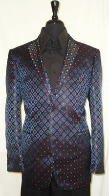 Mens Magnificent Navy Blue Red Diamond Leonardi Fitted Fashion Jacket Style 912 - Nader Fashion Las Vegas