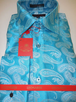 Mens Turquoise Luxurious Paisley Leonardi Brand Double Cuff Shirt Style 291 - Nader Fashion Las Vegas