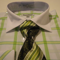 Mens Lime Green White Big Plaid Cuffed Dress Shirt + Tie Daniel Ellissa DS3768 - Nader Fashion Las Vegas