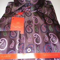 Mens Leonardi Nice Collar Cuffed Shirt Brown & Pink Paisley Graphics Style# 134 - Nader Fashion Las Vegas