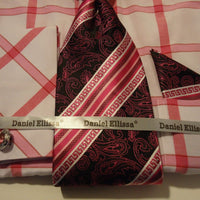 Mens Fuschia White Big Plaid Cuffed Dress Shirt + Tie Daniel Ellissa DS3768 - Nader Fashion Las Vegas