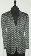 Mens Sharp Looking Leonardi Jacket Blazer Black Bright White Paisleys Style 806 - Nader Fashion Las Vegas