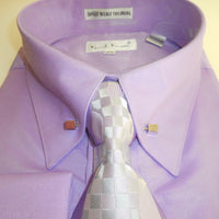 Mens Lilac Purple Fancy Collar Bar Dress Shirt Gorgeous Tie & Cuff Links 4362 - Nader Fashion Las Vegas
