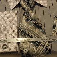Mens Gray Abstract Pattern Contrast Collar F/C Dress Shirt Daniel Ellissa DS3777 - Nader Fashion Las Vegas