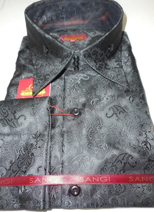 Mens Polished Black Sheen Rococo Fashion High Collar Cuffed Shirt SANGI 1028 - Nader Fashion Las Vegas