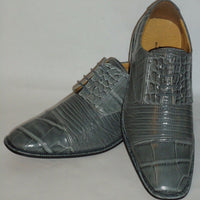 Mens Classy Gray Croco Look Round Toe Dress Shoes Liberty LS162 - Nader Fashion Las Vegas