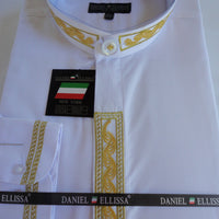Mens Greecian Look Banded No-Collar Dress Shirt White Gold Embroidery DS3113C - Nader Fashion Las Vegas