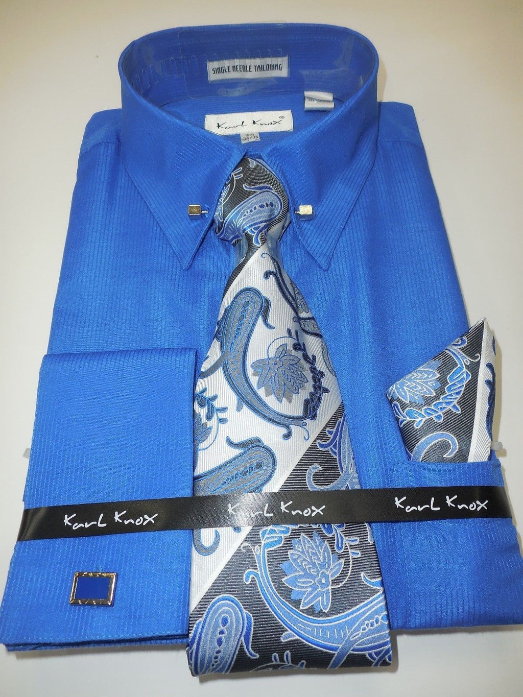 Mens Royal Blue Pin Eyelet French Cuff Dress Shirt Paisley Tie Karl Knox 4376 - Nader Fashion Las Vegas