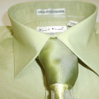 Mens Lovely Sage Green French Cuff Dress Shirt with Panel Tie Karl Knox 4351 - Nader Fashion Las Vegas