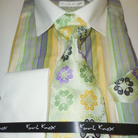 Mens Shades of Green Striped French Cuff Dress Shirt Tie Cufflink Set Karl Knox - Nader Fashion Las Vegas