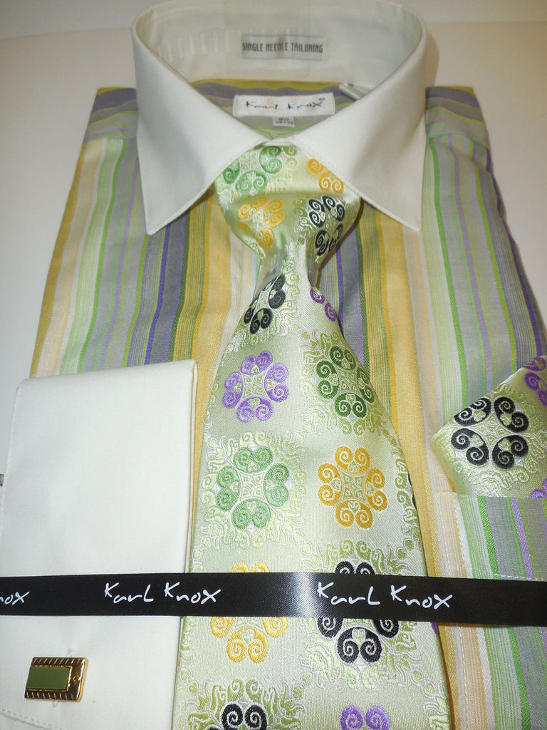 Mens Shades Of Green Striped French Cuff Dress Shirt Tie