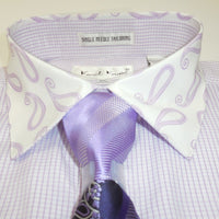 Mens Light Purple Lavender Tiny Check Paisley Cuffed Dress Shirt Karl Knox 4344 - Nader Fashion Las Vegas