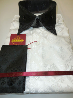 Mens Amazing Stand Out White Damask + Black High Collar/Cuff Shirt SANGI 1014 - Nader Fashion Las Vegas