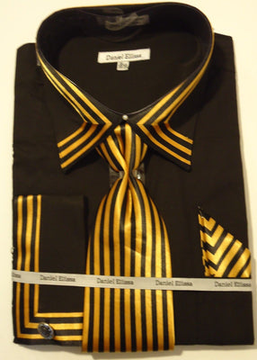 Mens Bold Black Gold Cuffed Dress Shirt Matching Tie Daniel Ellissa DS3757 - Nader Fashion Las Vegas
