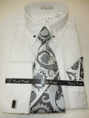 Mens Elegant White Fancy Eyelet French Cuff Dress Shirt + Tie Karl Knox 4376 - Nader Fashion Las Vegas