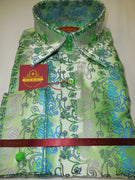 Mens Pearlized Green Multi Paisley Ivy High Collar French Cuff Shirt SANGI 1044 - Nader Fashion Las Vegas