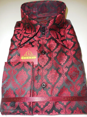 Mens Black Red Royalty High Collar French Cuff Fashion Shirt SANGI 1009 - Nader Fashion Las Vegas