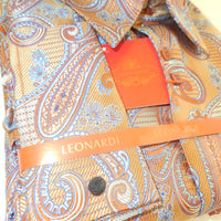 Mens Copper Brown Intricate Paisley Ultra High Collar Leonardi Shirt Style 342 - Nader Fashion Las Vegas