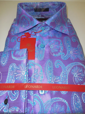 Mens Ultra Violet Tapestry Paisley Spread High Collar Leonardi Shirt Style 389 - Nader Fashion Las Vegas