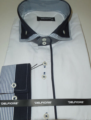 Mens Del Fiore 20/01 Cool Shirt White w/ Blue Black Contrast Cuff and Collar - Nader Fashion Las Vegas