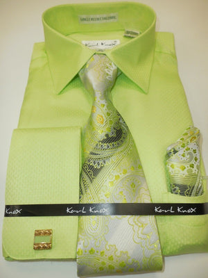 Mens Light Lime Green Textured Cuffed Dress Shirt + Beautiful Tie Karl Knox 4360 - Nader Fashion Las Vegas