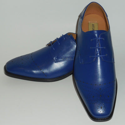 Mens Cool Perforated Royal Blue Oxford Fashion Dress Shoes Antonio Cerrelli 6738 - Nader Fashion Las Vegas