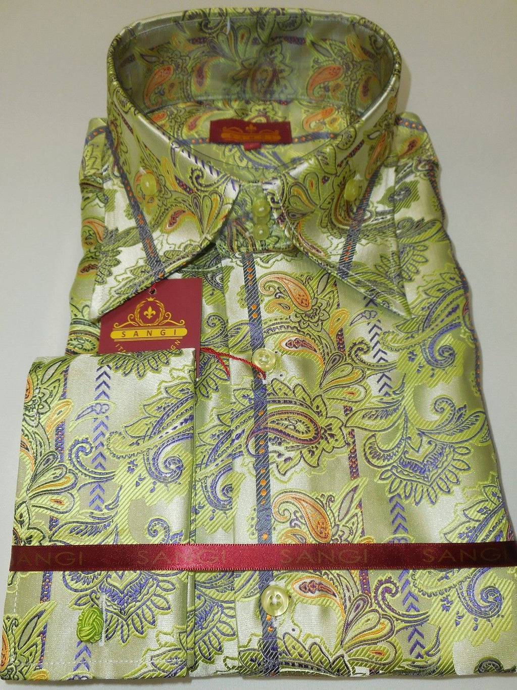 Mens Light Lime Green Paisley Flourish High Collar Cuffed Shirt SANGI 1034 - Nader Fashion Las Vegas