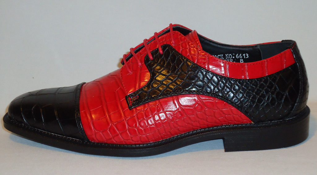 Mens Cool New Fashion Shoes Black Amp Hot Red Croco Texture