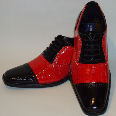 Mens Cool Retro Fashion Black & Red Faux Croco Dress Shoes Roberto Chillini 6600 - Nader Fashion Las Vegas