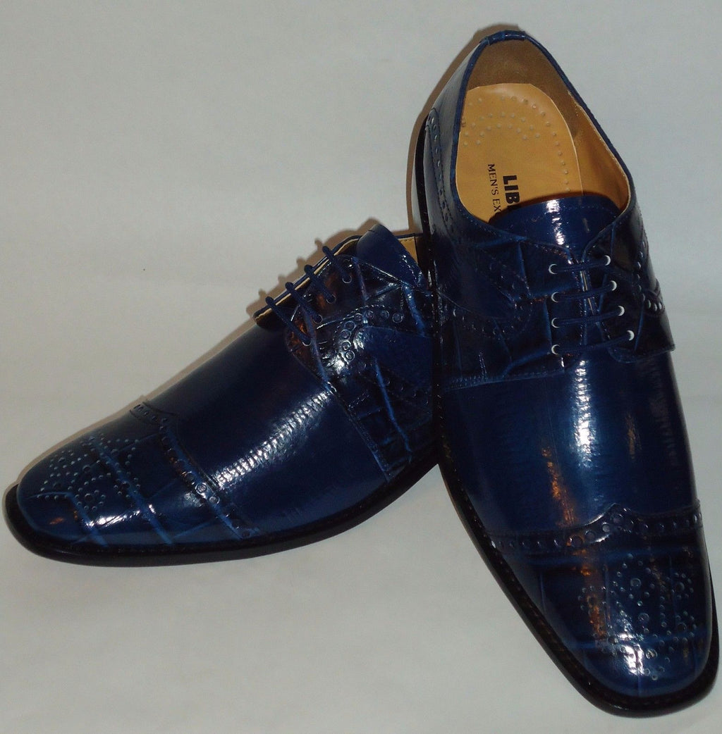Mens Navy Blue Elegance Croco Embossed Wing Tip Dress Shoes Liberty LS1045 - Nader Fashion Las Vegas