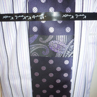 Mens Purple Lavender Striped Dress Shirt White French Cuff & Collar Karl Knox - Nader Fashion Las Vegas