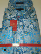 Mens White Paisley Floral on Turquoise Blue Leonardi High Collar Shirt Style 402