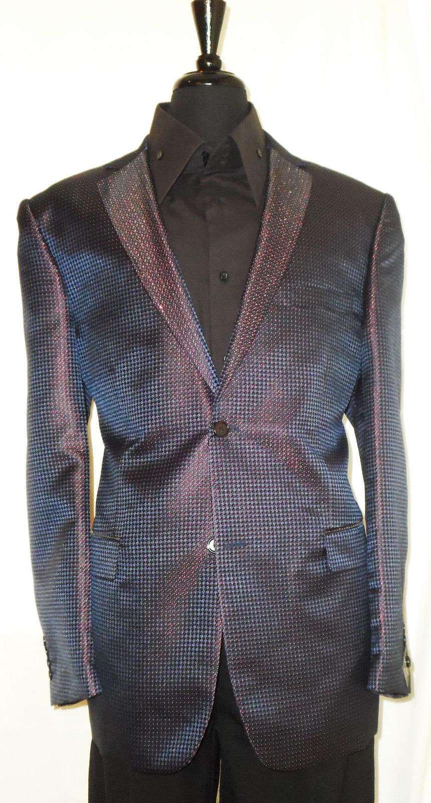 Mens Midnight Navy Iridescent Red Leonardi Modern Fit Fashion Jacket Style 906 - Nader Fashion Las Vegas