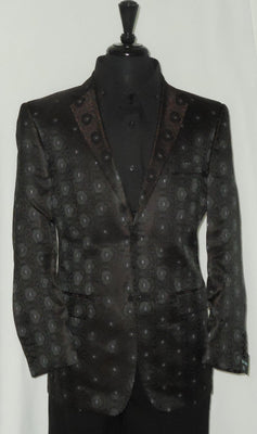 Mens Leonardi Gorgeous Color Espresso Brown Black Medallion Blazer Style 817 - Nader Fashion Las Vegas