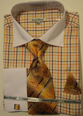 Mens Orange Gold Plaid Dress Shirt with White Cuff Collar Daniel Ellissa DS3765 - Nader Fashion Las Vegas