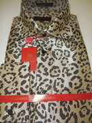 Mens Beige, Brown Cool Leopard Spots Designer Fashion Leonardi Shirt Style 394 - Nader Fashion Las Vegas
