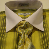 Mens Bright Sage Green White Collar Cuffed Dress Shirt Daniel Ellissa DS3778 - Nader Fashion Las Vegas