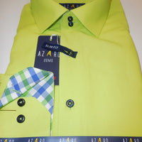 Mens Bright Neon Green Tartan Plaid Cuff & Placket Fitted Shirt Azaro Uomo M30 - Nader Fashion Las Vegas