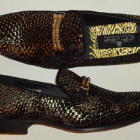 Mens Amazing Black Velvet Gold Snake Print Dress Shoes After Midnight 6767 - Nader Fashion Las Vegas