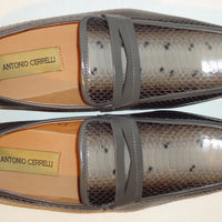 Mens Sophisticated Grey Snake Look Dress Loafers Shoes Antonio Cerrelli 6494 - Nader Fashion Las Vegas