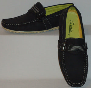 Mens Fun Stylish Boat Shoes Driving Mocs Soft Touch Feel Rubber Sole Moc6-Black - Nader Fashion Las Vegas