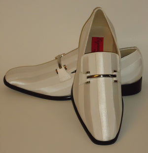 Mens Amazing White Satin Stripe Tux Dress Loafers Shoes Expressions 6757 - Nader Fashion Las Vegas