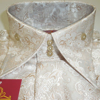 Mens Pearlized Tan Rococo Fashion High Collar French Cuff Shirt SANGI 1026 - Nader Fashion Las Vegas