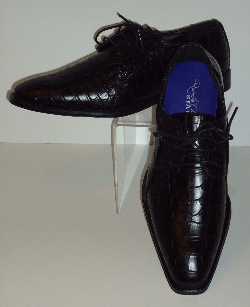 Mens Black Embossed Gator-Look Pointed Toe Dress Shoes Roberto Chillini 6563 - Nader Fashion Las Vegas