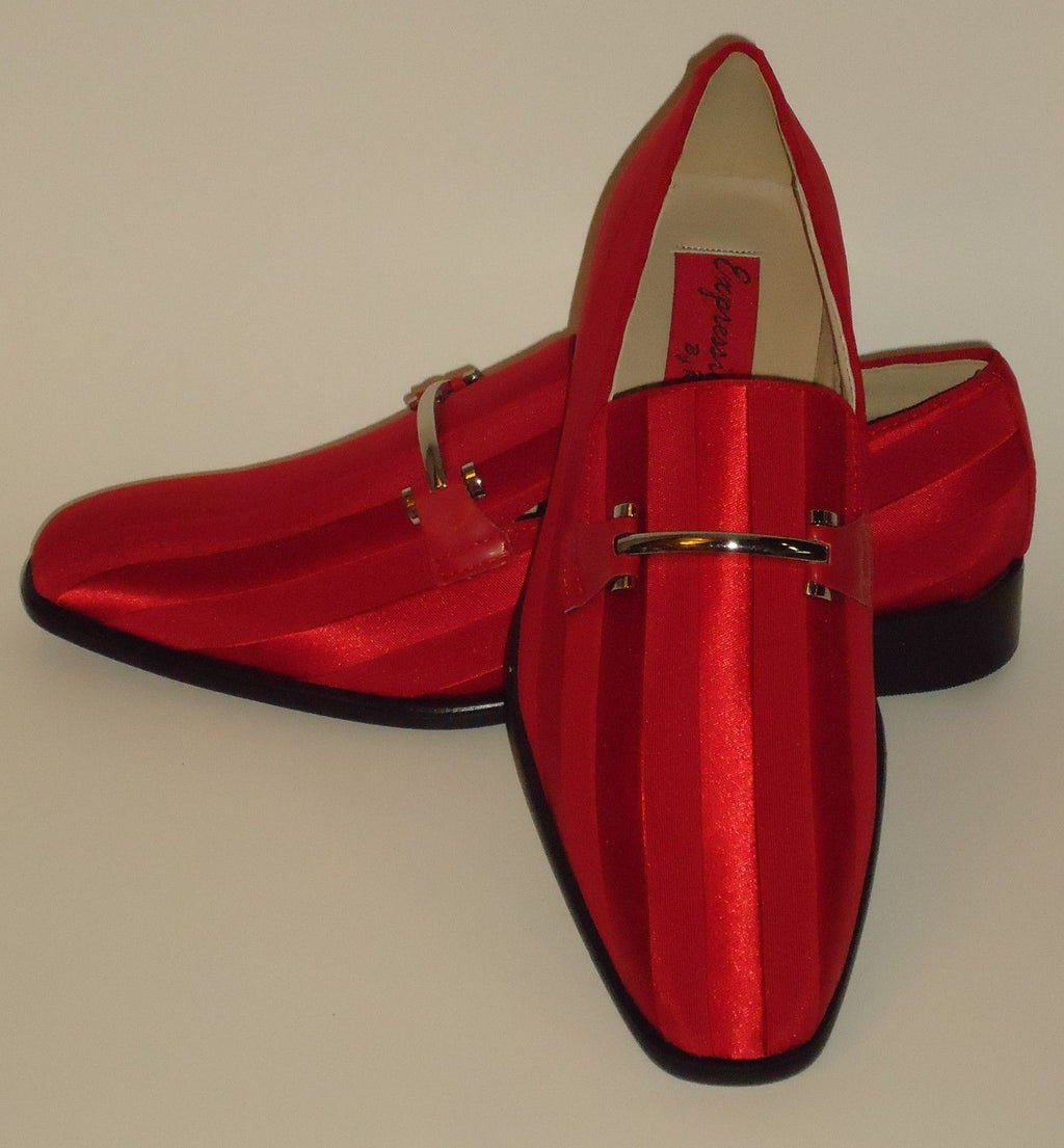 Mens Amazing Red Satin Stripe Tux Dress Loafers Shoes Expressions 6757 - Nader Fashion Las Vegas